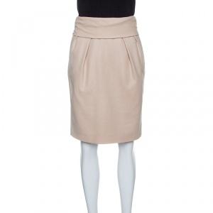 Boss Orange by Hugo Boss Beige Wool Waist Tie Detail Bang Bang Skirt S