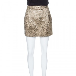 Boss Orange by Hugo Boss Dull Gold Embossed Jacquard Mini Skirt S