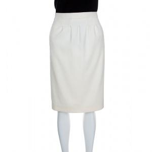 Boss By Hugo Boss Cream Wool Vadelle Skirt M
