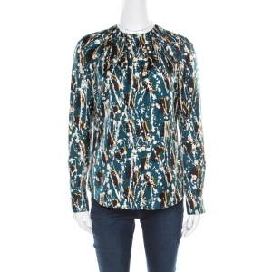 Boss by Hugo Boss Multicolor Splatter Printed Silk Long Sleeve Banora Blouse S