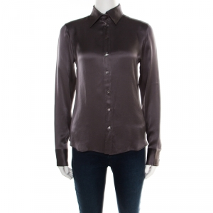Boss By Hugo Boss Grey Silk Satin Long Sleeve Button Front Shirt S - used