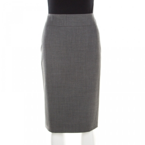Boss By Hugo Boss Grey Stretch Wool Pencil Skirt M