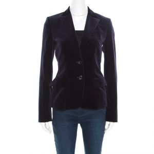 Boss by Hugo Boss Navy Blue Velvet Two Button Jaris Blazer S