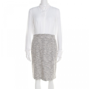 Boss by Hugo Boss Colorblock Silk and Tweed Long Sleeve Halennia Dress S