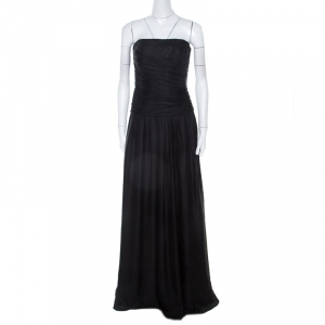 Boss By Hugo Boss Black Ruched Silk Strapless Dramata Maxi Dress M