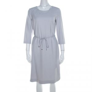 Boss by Hugo Boss Light Grey Crepe Floral Embroidered Dress M - used