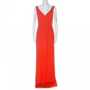 Boss By Hugo Boss Orange Crepe V-Neck Long Sleeveless Dress M - used