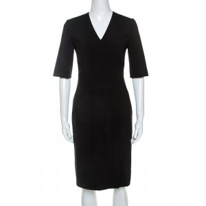 Boss By Hugo Boss Black Wool V Neck Dress S