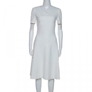 Boss By Hugo Boss White Cotton Blend Knee Length Diopela Dress S - used
