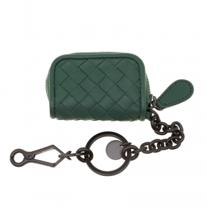 Bottega Veneta Green Intrecciato Leather Keyring Bag Charm