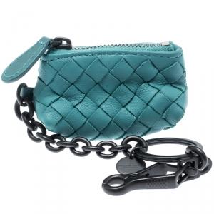 Bottega Veneta Green Intrecciato Leather Mini Cosmetic Key Ring Bag Charm