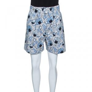 Bottega Veneta Off White and Blue Floral Printed High Waist Shorts S