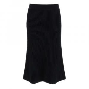 Bottega Veneta Black Fondente Ribbed Midi Skirt size M