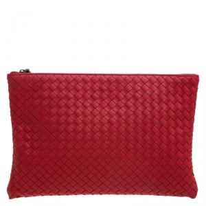 Bottega Veneta Red Intrecciato Woven Leather Large Pouch