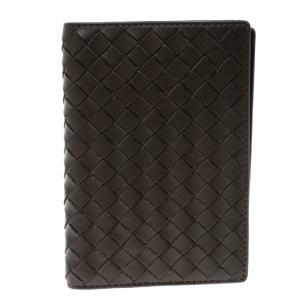 Bottega Veneta Grey Intrecciato Leather Passport Holder