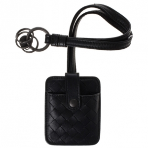Bottega Veneta Black Intrecciato Leather Key Pouch