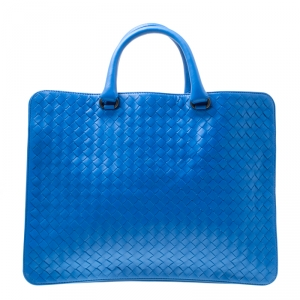 Bottega Veneta Blue Intrecciato Leather Flat Briefcase