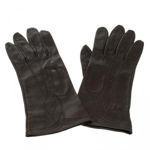 Bottega Veneta Dark Brown Leather Gloves