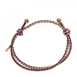 Bottega Veneta Two Tone Pink Intrecciato Woven Leather Double Band Bracelet