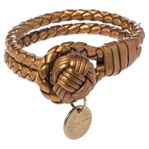 Bottega Veneta Bronze Gold Leather Double Strand Intrecciato Bracelet S