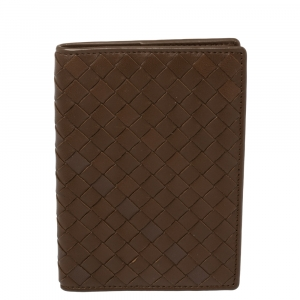 Bottega Veneta Brown Intrecciato Leather Passport Holder