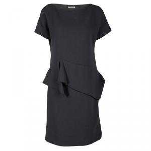 Bottega Veneta Grey Crepe Wool Ruffle Detail Short Sleeve Dress M