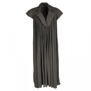 Bottega Veneta Grey Draped Collar Detail Crinkled Dress S