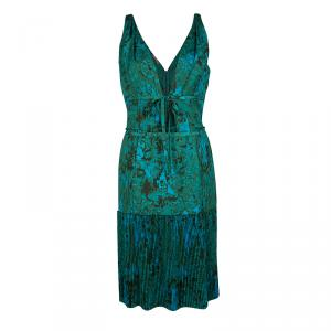 Bottega Veneta Blue and Green Printed Plisse Tie Detail Sleeveless Dress M