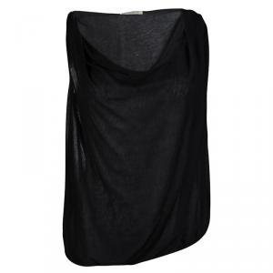 Bottega Veneta Black Cotton Draped Sleeveless Top M