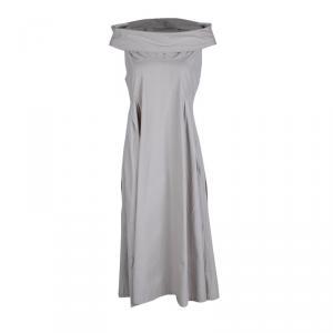Bottega Veneta Beige Cotton Pintuck Detail Off Shoulder Sleeveless Dress M - used