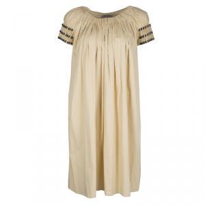 Bottega Veneta Yellow Gathered Cotton Button Detail Dress S - used