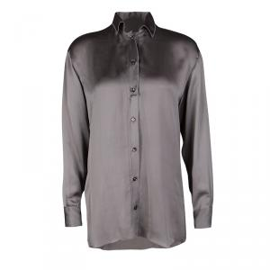 Bottega Veneta Grey Long Sleeve Silk Shirt S