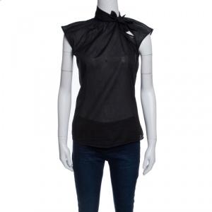 Bottega Veneta Black Sheer Cotton Neck Tie Detail Sleeveless Top S