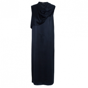 Bottega Veneta Black Draped Neck Detail Maxi Dress M