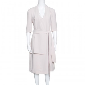 Bottega Veneta Beige Draped Neckline Detail Belted Dress M
