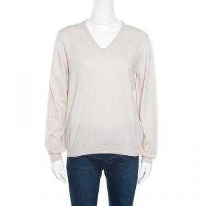 Bottega Veneta Cream Textured Wool V-Neck Sweater XL
