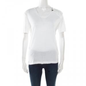 Bottega Veneta Off White Stretch Knit Zipper Detail T-Shirt S - used