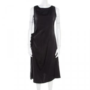 Bottega Veneta Black Asymmetric Ruffle Draped Sleeveless Shift Dress S - used