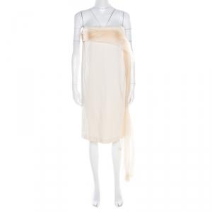 Bottega Veneta Beige Draped Organza Trim Strapless Shift Dress M - used