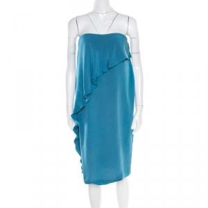 Bottega Veneta Teal Blue Silk Ruffled Strapless Bustier Dress M - used