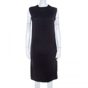 Bottega Veneta Black Textured Wool Sleeveless Shift Dress S - used