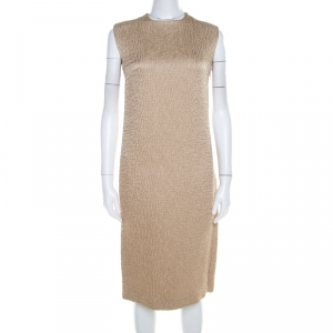 Bottega Veneta Beige Textured Wool Sleeveless Shift Dress S