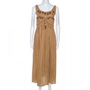 Bottega Veneta Camel Beige Linen Pom Pom Detail Pleated Dress L - used