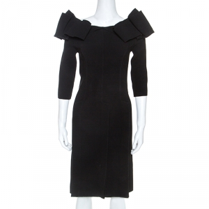 Bottega Veneta Black Stretch Crepe Off Shoulder Dress S