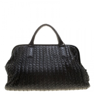 Bottega Veneta Black Intrecciato Leather New Bond Satchel