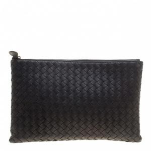 Bottega Veneta Black Intrecciato Leather Pouch