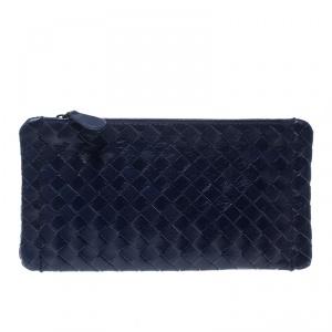 Bottega Veneta Blue Intrecciato Leather Pouch