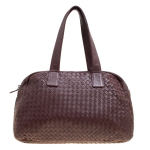 Bottega Veneta Ebano Intrecciato Leather Satchel