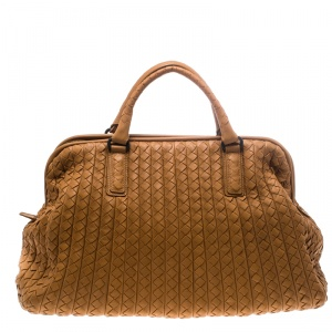 Bottega Veneta Brown Intrecciato Leather New Bond Satchel