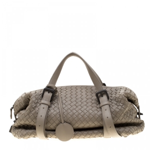 Bottega Veneta Grey Intrecciato Leather Montaigne Satchel